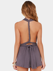 Dusty-purple Plunge V-neck Sleeveless Multiway Self-tie Backless Playsuit