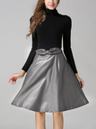 Gray Artificial Leather Full Midi Skirt