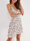 White Backless Strappy Random Floral V-Neck A-line Dress