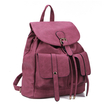 Two Front Pockets Leather-look Backpack in Rose Red