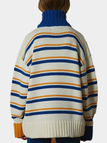 Random Stripe Pattern High Neck Long Sleeves Jumper