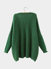 V Neck Drop Shoulder Sweater in Green
