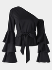 Black One Shoulder Ruffle Bell Sleeves Blouse with Belt