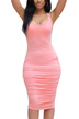 Pink Sleeveless Bodycon Midi Dress