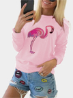 Pink Floral Print Long Sleeves Casual Sweatshirts