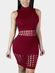 Burgundy Round Neck Hollow Out Bodycon Midi Dress