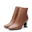 Brown Chunck Electroplated Heels Short Boots