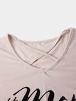 Apricot Letter Print Crossed Front V-neck Long Sleeves T-shirt