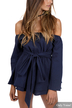 Off Shoulder Elastic Waist Self-tie Playsuit