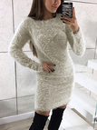 Light Grey Dyed Artificial Fur Round Neck Long Sleeves Mini Dress