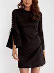 Black Lace-up Design Flared Sleeves Zipped Back Mini Dress