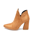 Brown Chunky Heels Suede Short Boots