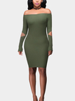 Green Sexy Off Shoulder Long Sleeves Hollow Design Mini Dress