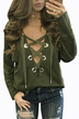 Lace-up Front Design Casual Top in Green