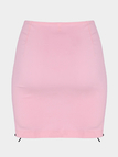 Pink Sexy Lace-up Side Irregular Hem Mini Skirt