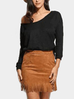 Black Round Neck Long Sleeves Splited Hem Sweater