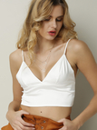White Sexy V-neck Simple Bralet