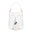 White Leather-look Embroidered Tassel Shoulder Bag with Drawstring