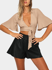 V Neck Chiffon Crop Top