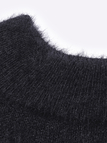 Black Off Shoulder Chunky Furry Detail Jumper