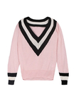 Pink Rib Deep V-neck Knit Casual Sweater