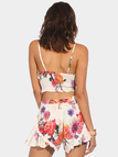 Floral Print V Neck Cami Crop Top and Shorts Co-ord