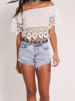 White Lace Off Shoulder Crop Top