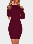 Burgundy Solid Color Cold Shoulder Bodycon Mini Dresses