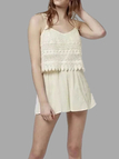Beige Lace Playsuit with Sleeveless