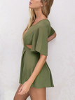 Khaki Cut Out Cross Front Playsuit with Short Sleeve