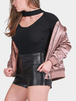 Pink Fashion Satin Zipper Jacket