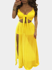Yellow Sexy Cut Out Splited Dress