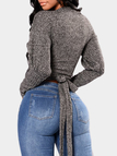 Grey Coss Front Tie-up Back Cropped Sweater