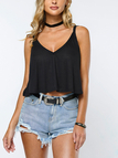 Simple Design Black Loose Bowknot V Neck Cami