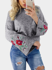 Grey Embroidery Pattern Round Neck Bell Sleeves Jumper