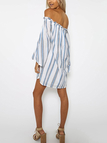 Sexy Stripe Pattern Off Shoulder Loose Dress