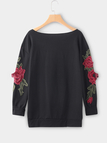 Black Ripped Details Embroidered Loose Sweatshirts