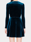 Suede Deep V-neck Long Sleeves Ladies Mini Dress