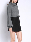 Grey Off Shoulder Pullover Long Sleeve Knit Jumper