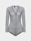 V-neck Long Sleeves Knitted Bodysuit in Grey
