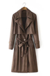 Tie Waist Suedette Trench Coat in Brown