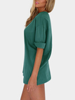 Green Crew Neck Roll Half Sleeves Mini Dress
