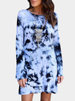 Light Blue Backless Design Random Floral Print Long Sleeves Dress