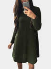 Army Green Woolen Knitting Long Sleeves Dress