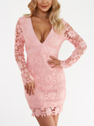 Pink Sexy V-neck Hollow Design Backless Self-tie Lace Dress