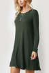 Army Green Oversized Round Neck Pleated Hem Mini Dress
