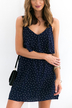 Blue V-neck Layered Wave Point Backless Dress