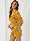 Yellow Backless Design Random Floral Print Turtleneck Flared Sleeves Playsuit