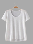 White Short Sleeve Round Neck T-shirts
