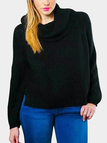 Black Casual Roll Neck Raglan Jumper